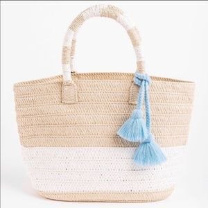 Causebox Altru Straw Tote w/ Blue Tassels